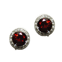 Round Halo Clear+Red  Cubic Zirconia Rhodium Stud Earrings 11 Mm - $23.76