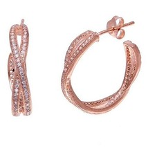 DAINTY 14K ROSE VERMEIL PAVE BYPASS CZ HOOP EARRINGS-925-BRIDAL - $39.59