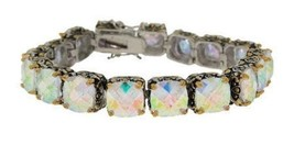 Antique  2 Tone Ab Cushion Cubic Zirconia Tennis Bracelet 15 Mm Stones - $89.09
