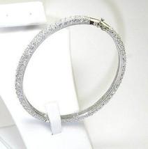 Micro Pave Cubic Zirconia Eternity Dome Bangle Bracelet 925 Vermeil Bridal - $187.11