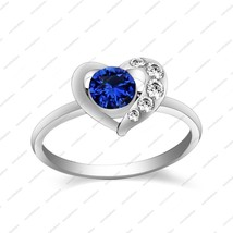 10k White Gold Plated 925 Silver Round Cut Blue Sapphire & CZ Heart Fashion Ring - £54.59 GBP