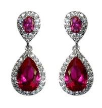 Pave Ruby Cz Teardrop Shape Dangle Earring Bridal 31 Mm - $49.49
