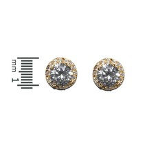 Round Halo Clear Cubic Zirconia 14 K Gep Stud Earrings 11 Mm - $23.76