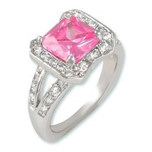 NEW 3CT PAVE & EMERALD CUT PINK CUBIC ZIRCONIA RING BRIDAL - $29.99