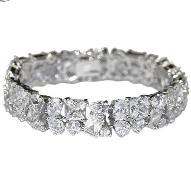 Glitzy Mixed Shape AAA Cubic Zirconia Tennis Bracelet  Box Lock & Saftey-Bridal - $118.79
