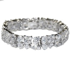 Glitzy Mixed Shape AAA Cubic Zirconia Tennis Bracelet  Box Lock & Saftey... - $118.79