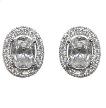 OVAL HALO CUBIC ZIRCONIA RHODIUM STUD EARRINGS 13MM OF BLING - $23.76