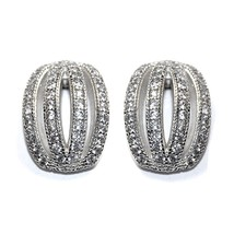 Pave Domed Four Row Cubic Zirconia Stud Earrings 14 Mm  Bridal - $29.69