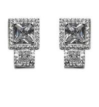 Glitzy Pave Princess Cut Clear Cz  Stud Earring  Bridal - $39.59