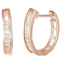 DAINTY 14K ROSE VERMEIL U SHAPE BAGUETTE CZ HOOP EARRINGS-925-BRIDAL - $720,46 MXN