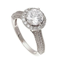 14K WHITE VERMEIL ENCRUSTED 3 SIDED HALO CUBIC ZIRCONIA ENGAGENENT RING-... - $39.99
