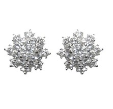 Dainty Childrens Babies  Pave Snowflake Clear Cubic Zirconia Stud Earrings 10 Mm  - $21.78
