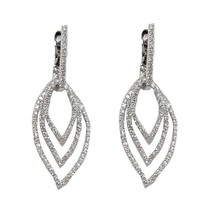 Pave Clear Triple Charms Open Leaf Cubic Zirconia Rhodium Hoop Earrings - $39.59