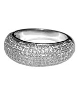 THE LOOK OF REAL PAVE DOME CUBIC ZIRCONIA BAND RING HIGH QUALITY BRIDAL - $42.00