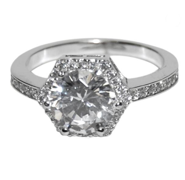 cubic zirconia wedding rings that look real the look of real 1ct center hexagon halo bridal 3221