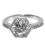 THE LOOK OF REAL 1CT CENTER ROUND HEXAGON HALO BRIDAL CLEAR CUBIC ZIRCON... - $34.99