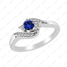 1.50 ct Blue Sapphire & CZ White Gold Plated 925 Silver Promise Wedding Ring 8 - £49.60 GBP