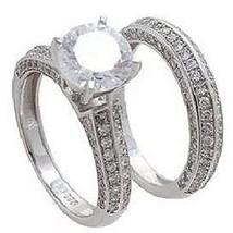 14K W VERMEIL 3 SIDED CUBIC ZIRCONIA WEDDING  RING SET-925/SS--ONLY 1 ON... - $79.99