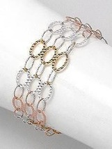 14k Tri Color Vermeil Interlocking Circle C.Z. Bracelet  Bridal - $48.51