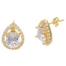 14 K Yellow Vermeil 8 Mm Halo Tear Drop Stud Earrings  925/Ss - $39.59