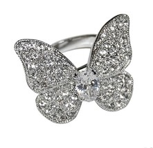 Glitzy Pave Butterfly With Oval Solitaire Cubic Zirconia Band Ring Bridal - $29.99