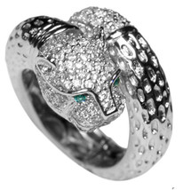 THE LOOK OF REAL PAVE  PANTHER CLEAR CUBIC ZIRCONIA RING -BRIDAL - $39.99