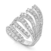 Hot Style Pave Long Cubic Zirconia Knuckle Ring 925/Ss Flawless - $89.99