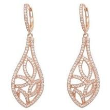 Sterling Silver 14 K  Rose Cz Open Teardrop Hoop Dangle Earring - $117.81