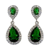 The Look Of Real Pave Emerald Cz Teardrop Shape Dangle Earring Bridal 31 Mm - $49.49