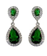 THE LOOK OF REAL PAVE EMERALD CZ TEARDROP SHAPE DANGLE EARRING-BRIDAL-31MM - $49.49