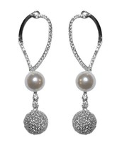 The Look Of Real Clear Cz Pave Ball And Cream Pearl Dangle Earring Bridal - $39.59