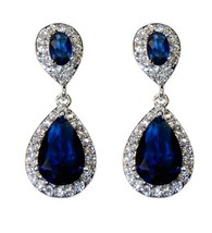 The Look Of Real Pave Sapphire Cz Teardrop Shape Dangle Earring Bridal 31 Mm - $49.49