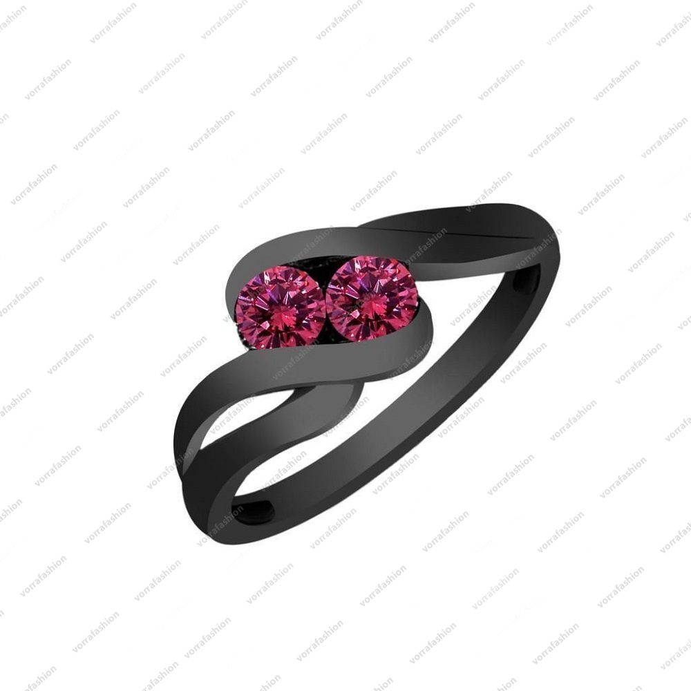 Solid 925 Sterling silver Black Rhodium Plated 0.56ct Pink Sapphire Bypass Ring