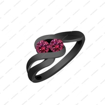 Solid 925 Sterling silver Black Rhodium Plated 0.56ct Pink Sapphire Bypass Ring  - $87.99