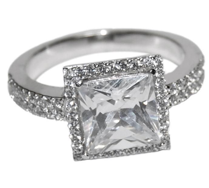 cubic zirconia wedding rings that look real the look of real princess cut halo bridal clear cubic 3221