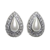 New Pave Halo Cubic Zirconia Teardrop Pearl Stud Earrings   17 Mm  Bridal - $39.59