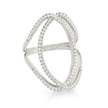 14 K White Gold Vermeil Pave Open Oval Shank Cz Knuckle Ring Band 925 28mm - $59.99