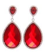14K WHITE VERMEIL 60CTW Ruby Red & Clear CZ Tear Drop Hoop EarringsBrida... - $1.489,29 MXN