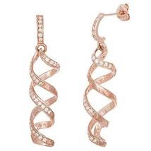 Pave 14 K  Rose Vermeil Spiral Chandelier Dangle Earrings  925/Ss   35 Mm - $48.51