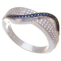 14K WHITE VERMEIL Micro Pave CZ Clear & Shapphire Eternity Ring-Bridal 925 - $39.99