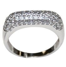 PAVE SQUARE 3 SIDED CLEAR CUBIC ZIRCONIA WEDDING ETERNITY BAND RING- - $39.99