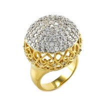 5 Ctw Pave Encrusted Cubic Zirconia 22 Mm High Fancy Dome Ball Gep Ring Glitzy - $49.99
