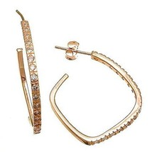 Pave 14 K Rose Gold Vermeil Cubic Zirconia Cz Square Hoop Earrings  925/Ss 25 M - $29.69