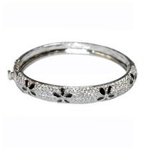 Pave  Clear Cubic Zirconia Dome Black Flower Bangle  Bracelet Box Lock & Safety - $69.29