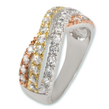 White,Gold Rose Tri Color Cubic Zirconia 3 Stacked Bypass Ring Gorgeous - $39.99