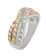 WHITE,GOLD ROSE TRI-COLOR CUBIC ZIRCONIA 3 STACKED BYPASS RING-GORGEOUS - $39.99