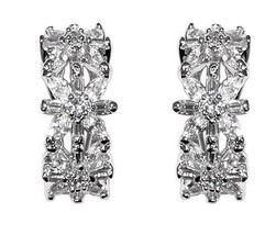 Glitzy Clear Cluster Cubic Zirconia Hoop Omega French Back Earring 23 Mm - $59.39