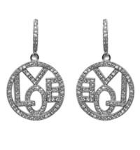 Pave Cz Open Circle With The Word Love Dangle Earrings  Bridal - $49.49