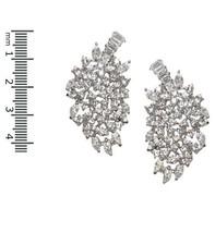 Bridal Cluster Clear Cubic Zirconia Leaf Chandelier Dangle Earrings 43 Mm - $49.49