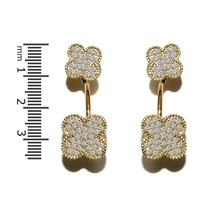 New Pave Yellow Gold Plated Double Clover Clear Cz Hoop Dangle Earring  Bridal - $29.69